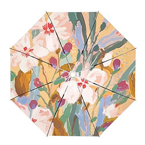 Paraguas de viaje a prueba de viento para lluvia y sol, paraguas de viaje floral ligero compacto plegable para caminar mujeres lluvia y paraguas para mujeres hombres, a, Automatic,