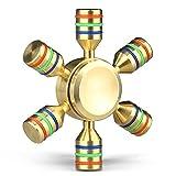 ABM Fidget Spinner Mothca Metal 2-4 Minutes Quiet Smooth Spins Hand Finger Fidget Toys-Gold