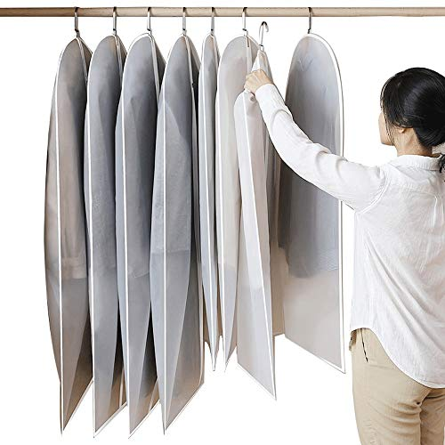 YLiansong-home Dustproof Clothes Covers Set Of 3 PEVA Fabric Garment Bags Suit Bag for Dresses Shirts Coats Includes Zipper Moth Proof Coat Bag (Color : Clear, Size : 3pcs*M)