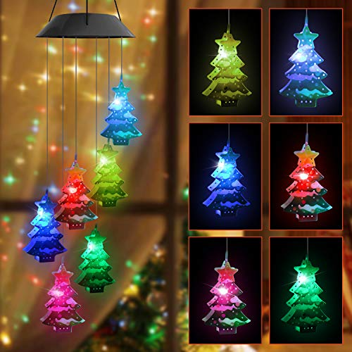 Christmas Lights, Color Changing Christmas Tree, Outdoor Christmas Decorations Solar Wind Chimes, 6 LED  Christmas Tree Decorative Mobile for Balcony, Bedroom, Party, Yard, Window, Garden Decorations