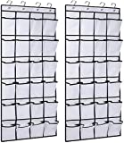 InnoGear Paquete de 2 organizadores para colgar sobre la puerta, zapatero con 24 bolsillos de malla, 8 ganchos para puerta, almacenamiento de objetos para cocina, dormitorio, baño (blanco)
