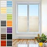Tenda plissettata per finestre, con supporti da avvitare, senza fori, in tessuto Pearl di alta qualità, per protezione da sole e sguardi indiscreti, Tessuto Metallo, crema, Breite: 65cm, Höhe: 130cm