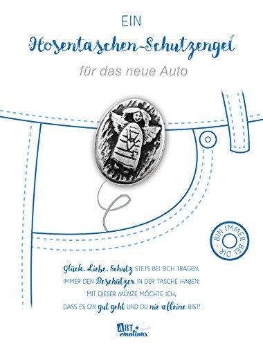 ART + emotions Hosentaschen Schutzengel - für das Neue Auto - Münze ist - 925 versilbert 925 - Geschenkidee für ihre Lieblingsmenschen fürs Neue Auto - Talisman Mutmacher und Glücksbringer zugleich