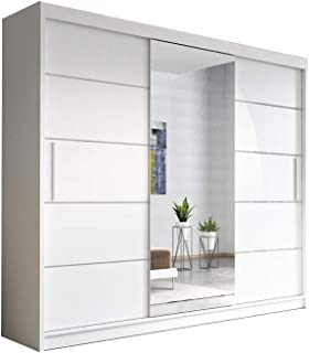 E-MEUBLES Armoire, Penderie avec 3 Portes coulissantes (L x H x P): 250x218x61 Elba (Blanc + Blanc+ Miroir)