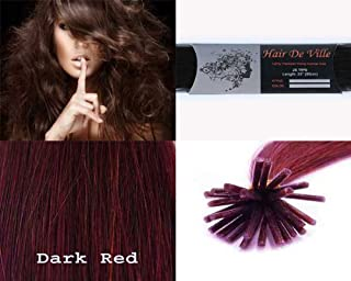 25 Strands Straight Micro Ring Links Locks Beads Keratin Stick I Tip Human Hair Extensions Color # Dark Red