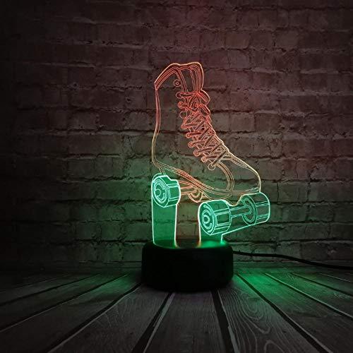 Nachtlicht Neue 3D Lampe Sport Rollschuhe Schuhe Tisch Nachtlicht Mischfarbe Stimmung Illusion Multicolor Led Kind Geschenke Kinder Spielzeug