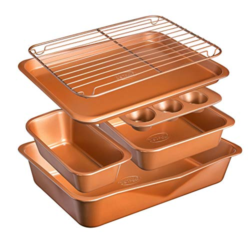 GOTHAM STEEL 6 Piece Non-Stick Bakeware Set Includes Baking, Cookie Sheet, Loaf Pan, Muffin Tin and More with Premier Ti-Cerama Copper Coating 100% PFOA Free, Graphite