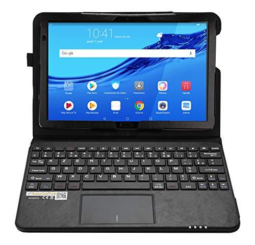 MQ pour Huawei MediaPad M5 lite - Etui avec clavier français AZERTY pour Huawei MediaPad M5 lite WiFi, Huawei MediaPad M5 lite LTE 10.1 | Housse avec clavier Bluetooth, touchpad (pavé tactile) intégré