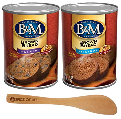 B & M Brown Bread, Raisin and Original Flavors, One of Each Can with Spice of Life Bamboo Spreader