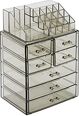 Sorbus Acrylic Cosmetic Makeup and Jewelry Storage Case Display - Spacious Design - Great for Bathroom, Dresser, Vanity and Countertop (3 Large, 4 Small Drawers, Purple/Clear Combo)