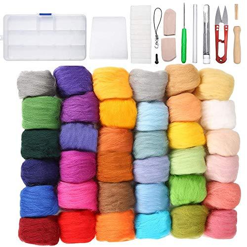 IWILCS 36 colores de lana de fieltro, lana de fieltro juego de herramientas fieltro de aguja, juego de iniciación para niños familias agujas manualidades principiantes