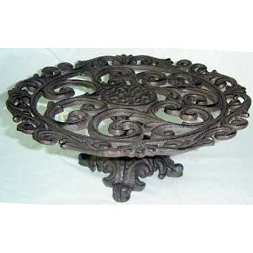 """Home Essentials Home Essentials Cast Iron 14"""" Footed Cake Plate, wroght Iron Brown"""