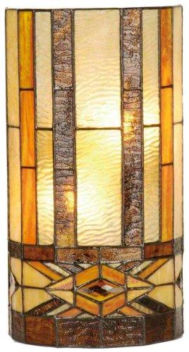 Lumilamp 5LL-9286 - Lampada da parete in stile Tiffany, 20 x 11 x 36 cm, 2 lampadine E14 max. 40 W, vetro colorato decorativo, realizzata a mano, paralume in vetro