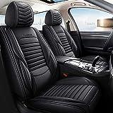 Chemu Fundas de asiento de piel de 5 plazas delanteras y traseras para V W Golf 7 Jetta Santana Tiguan Touareg T-ROC A UDI A3 8P 8V 8L A4 B6 B7 B8 A6 Q3 Q5 Sq5 (negro)