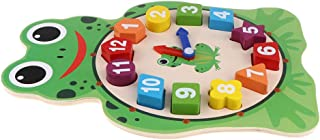 CUTICATE Wooden Owl/Frog Geometry Clock Sorting Blocks Early Learning Toy - Frog Green, 21.5 x 0.7 x 29cm