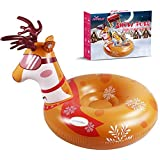 Fivkle Elk Design Snow Tube, 47inch Inflatable Freeze-Proof & Wear-Resistant Snow Sled, Heavy Duty 0.6mm Thickening Material Snow Tube with 2 High Handles for Adults and Kids in Winter
