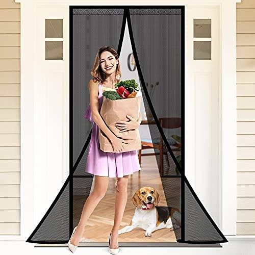 Magnet Fliegengitter Tür Insektenschutz Balkontür Magnetvorhang für Terrassentür Kellertür Schiebetür und Wohnzimmer, Kinderleichte Klebemontage Ohne Bohren (90x200CM)