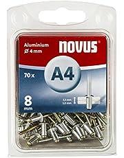 Novus Blindklinknagels 8 mm aluminium, 70 blinde klinknagels, Ø 4 mm, 3,5-5,0 mm klemlengte, bevestiging van kunststof en leer