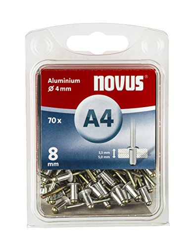 Novus Blindnieten 8 mm Aluminium, 70 Blindnieten, Ø 4 mm, 3.5-5.0 mm Klemmlänge, Befestigung von Kunst-Stoff und Leder