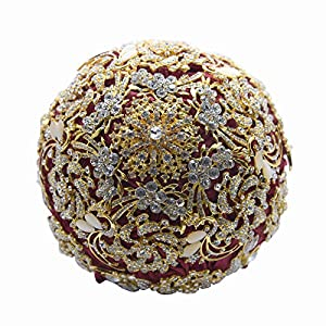 Abbie Home Handmade Brooch Bouquet Wedding Bridal Roses – Advanced Sparkle Rhinestone and Pearl Covered Bride Flower