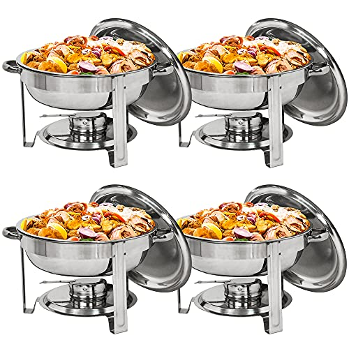 ZENY Pack of 4 Round Chafing Dish Full Size 5 Quart Stainless Steel Deep Pans Chafer Dish Set Buffet Catering Party Events Warmer Serving Set Utensils w/Fuel Holder