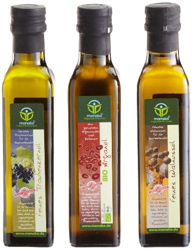 manako Gourmetset: BIO Arganöl geröstet 250ml, Traubenkernöl 250 ml, Walnussöl (3x 250 ml)