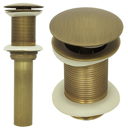 Ablaufgarnitur Waschbecken Messing ohne Überlauf Retro Ablaufventil Universal Abflussrohr Pop up Ventil in Antik