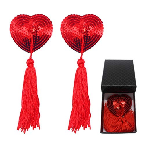 Heart Pasties Adhesive Nipple Cover, Reusable Pasties Bra with Tassel (Red) (Red) …