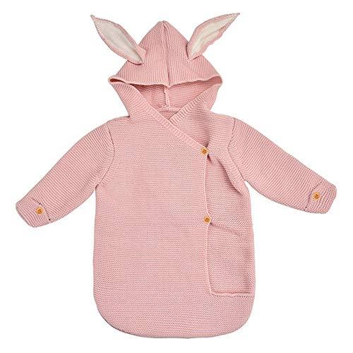 Saco De Dormir del Bebé De Manga Larga - Vestidos Infantil Lindo Recién Nacido Cochecito del Oído De Conejo De Punto Sleepsack,Rosado