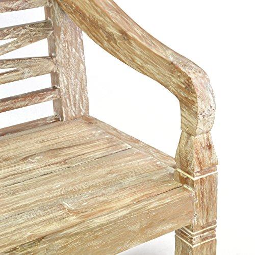 DIVERO 2-Sitzer stabile antike Gartenbank 115 cm massiv Teak-Holz Handarbeit 2 Personen Bank mit Schnitzereien weiß whitewash - 4