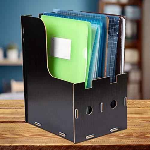 Caja de almacenamiento de escritorio de madera fácil de limpiar Negro/Madera de cerezo para sala de estudio(black)