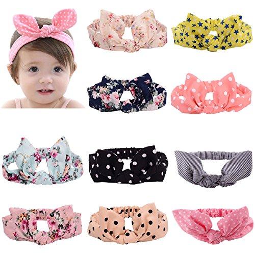 LZYMSZ 10 PC Baby Turbante Banda para el cabello Colorful Ha