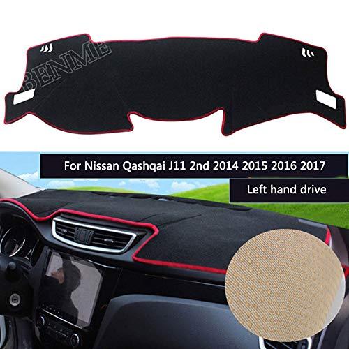 Coperture Cruscotto per Nissan Qashqai J11 2nd 2014 2015 2016 2017 Car Dashboard Cover Dashmat Pad Protettore Dash Board Cover Tappeto Antiscivolo Accessori Interni,Black