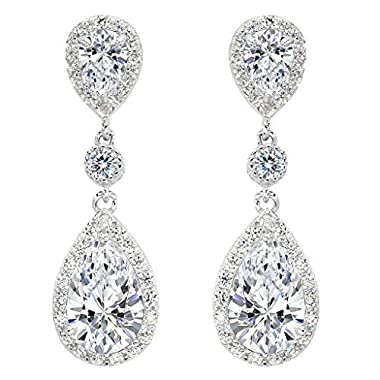 EleQueen 925 Sterling Silver Full Prong Cubic Zirconia Birthstone Teardrop Bridal Dangle Earrings Clear