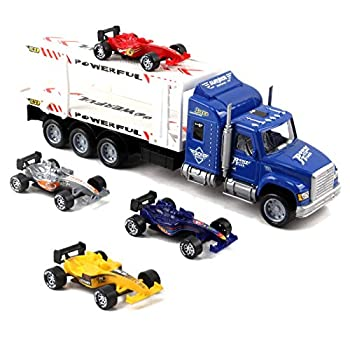 Vokodo Friction Powered Toy Semi Truck Trailer 14.5  With Four Formula 1 Race Cars Kids Push And Go Big Rig Carrier 1 32 Scale Auto Transporter Semi-Truck Play Vehicle Great Gift For Children Boy Girl