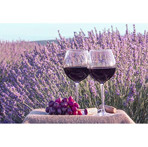 DORCEV Polyester 8x5ft Lavender Field Backdrop Lavender Wedding Ceremony Birthday Party Baby Shower Background Two Glasses of Red Wine Lavender Field Party Dessert Table Banner Photo Studio Props