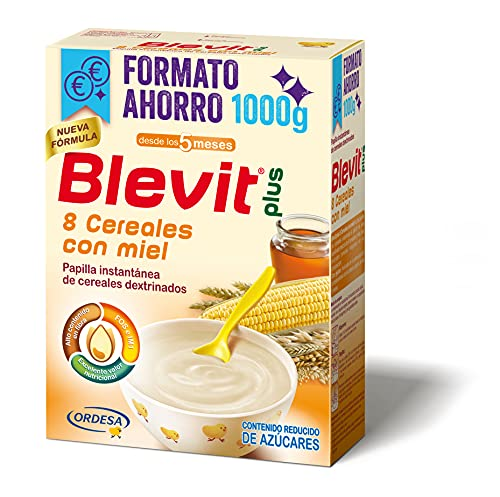 Blevit Plus 8 Cereales Miel Formato Ahorro - Papilla para Bebé con Harina de Avena y Harina de Trigo - Sin Azúcares Añadidos - Ayuda a regular el tránsito intestinal - Desde los 5 meses - 1000g
