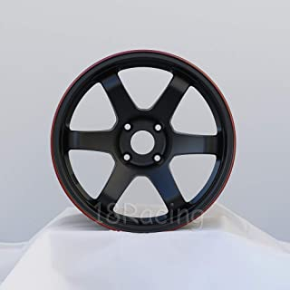 4 PCS ROTA GRID 17X9.5 PCD: 4X114.3 OFFSET:12 HB:73 FLAT BLACK WITH RED LINE