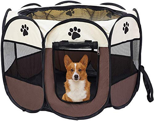 SanZHONGsd Parque portátil para mascotas, Parques plegables para perros, interior/al aire libre Mascota ejercicio carpa malla sombra cubierta viaje perro