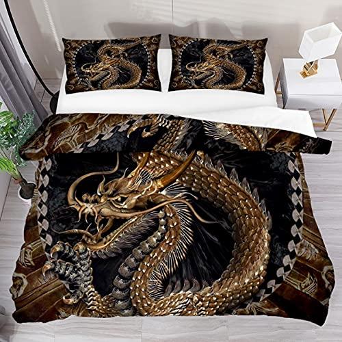 Set copripiumino super king taditional cinese drago dorato 3 pezzi biancheria da letto copripiumino copripiumino copripiumino 2 federe 1 copripiumino