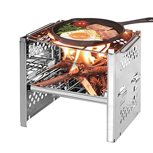 Lixada Camping Wood Stove Folding Stainless Steel Stove Grill Portable Backpacking Stove Alcohol Burn Stove with BBQ Grill Storage Bag (Type2)