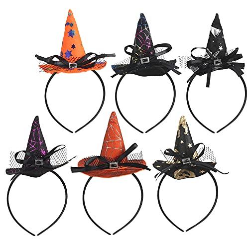 KATOOM Diadema de Bruja Halloween 6PCS Hairband de Disfraces Mini Sombrero de Bruja con Plumas y Velo para Decoración de Fiesta de Disfraces de Halloween Cabello para Niñas y Mujeres
