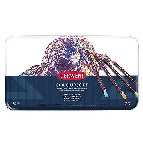 Derwent Coloursoft Matite Colorate in Scatola di Metallo (Confezione da 36), multicolore
