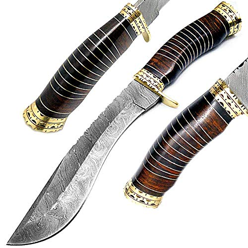 "Best.Buy.Damascus1 Rose Wood 13"" Fixed Blade Custom Handmade Damascus Steel Kukri Hunting Knife Double Brass Bolster Spacers Unique Beautiful File Work On Handel Come with Leather Sheath"