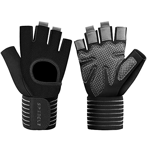 Speecle Workout Gloves, Weight Lifting Gloves with Wrist Wrap Support for Men & Women, Full Palm Protection, for Weightlifting, Training, Fitness, Powerlifting, Pull ups, L