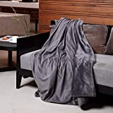 FLINCOUS Electric Heated Throw Blanket, Flannel Fleece & Sherpa 71 X 51 inch Heated Throw Blanket, ETL Certification with 3 Heating Levels & 2 Hour Auto Off, Home Office Use & Machine Washable (Grey)