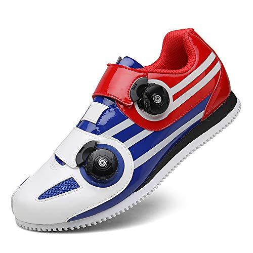 Zapatillas de Ciclismo Antideslizantes, Zapatillas de Bicicleta de Carretera y Montaña de Fibra de Carbono Transpirables, Zapatillas Deportivas Asistidas con Tiras Reflectan(Size:40,Color:blanco azul)
