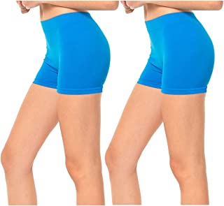 2 Pack Women's Seamless Stretch Yoga Exercise Shorts
