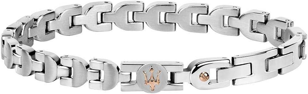 Maserati collezione jewels bracciale da uomo  in acciaio, pvd oro rosa 8033288879589