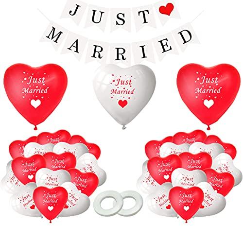 Just Married Banner,30pcsGlobos de Boda,Just Married Decoracion,Globos con Forma de Corazon para...